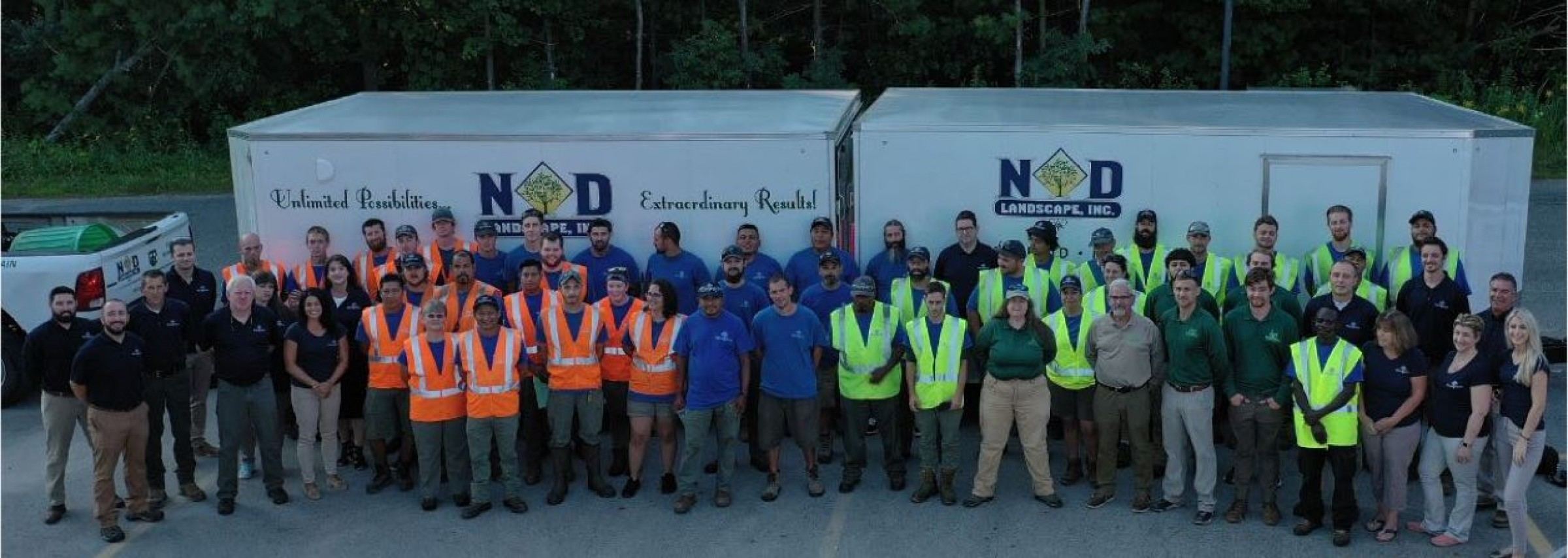 Full landscape contractors team